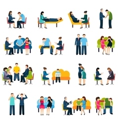 Counseling Support Group Flat Icons Set vector image vector image