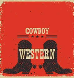 Cowboy boots background red card with text vector