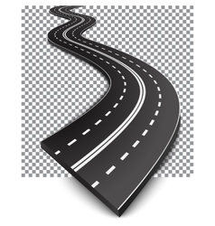 Curved road with white markings vector