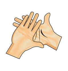 Drawing hand man clap gesture icon vector