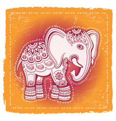 ethnic elephant on tribal indian background vector image vector image