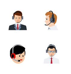 Flat icon call set of telemarketing operator vector