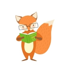 Fox Smiling Bookworm Zoo Character Wearing Glasses vector image vector image