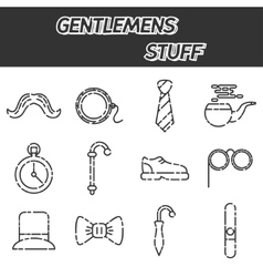 Gentlemens vintage stuff icon set vector