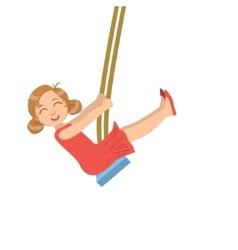 Girl in red dress enjoying the swings vector