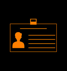 Identification card sign orange icon on black vector
