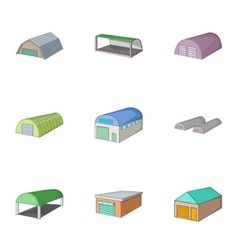 Industrial building icons set cartoon style vector image