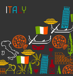 Italy background design italian symbols and vector