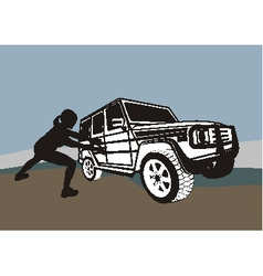 Large offroad and weak woman vector