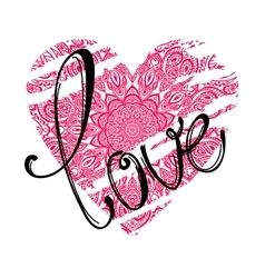 love lettering and pink heart vector image