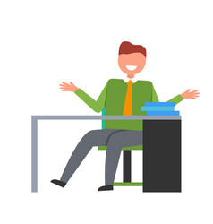man on workplace in office vector image vector image