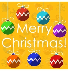 Merry christmas with christmas balls vector image vector image