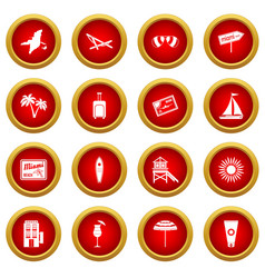 Miami icon red circle set vector