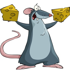 mouse with cheese vector image vector image
