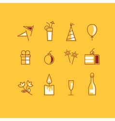 New year and birthday identity icons set vector
