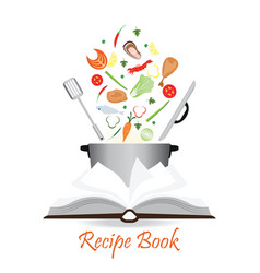 Open recipe book isolated on white vector