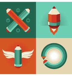 Pencil symbols vector image vector image