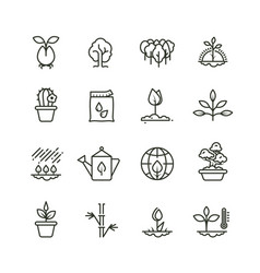 plant planting and seed line icons sprout vector image vector image