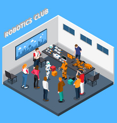 Robotics club isometric composition vector
