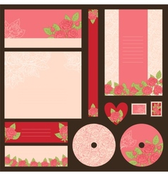 Set of wedding invitations with flowers background vector image vector image