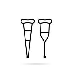 simple black thin line crutch icon vector image