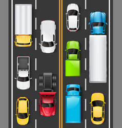 Top view of cars and trucks on the road vector