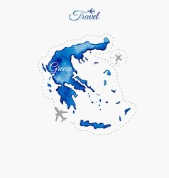 Travel around the world greece watercolor map vector