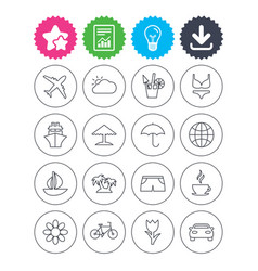 Travel icons ship plane and car transport vector