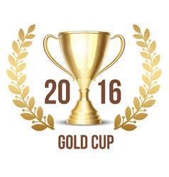 Trophy cup with laurel wreath 2016 vector