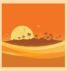 tropical island with palms and sun poster vector image vector image