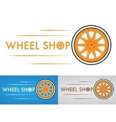 Wheel shop logo design three variants vector