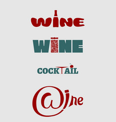 wine logo set typography concept for vineyard vector image vector image
