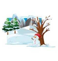 Winter scene with snowman on snow vector