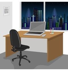 Work desk interior with a laptop computer vector