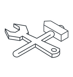 Wrench and hammer linear isometric icon vector
