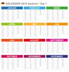 Calendar 2014 German Type 1 vector image