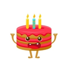 Birthday cake with one candle happy birthday and vector