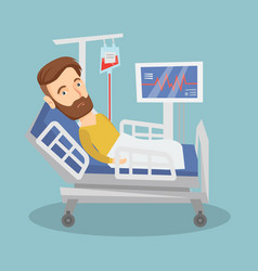 Man lying in hospital bed vector