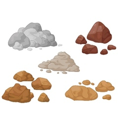 Stone and rock cartoon collection vector