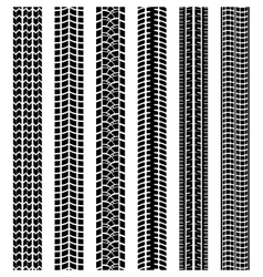 Set of black and white tire tracks vector