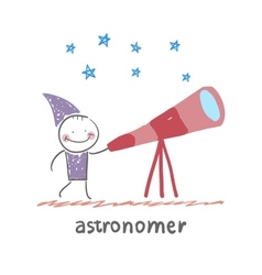 Astronomer looking through a telescope vector