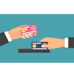 Hands holding money plastic card exchange transfer vector