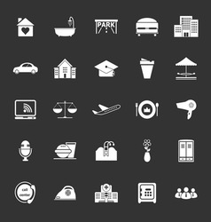 Hospitality business icons on gray background vector