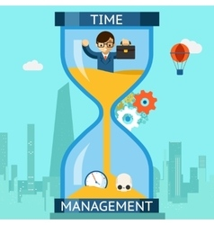 Time management businessman sinking in hourglass vector
