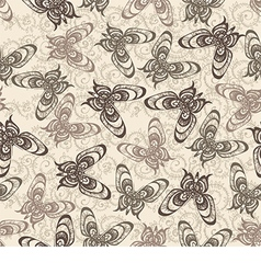 Pattern with butterflies on a beige background vector