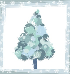 Winter background with a pine tree and snowflakes vector
