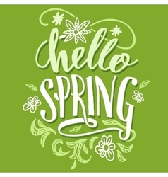 Hello spring brush calligraphy card vector
