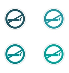 Assembly realistic sticker design on paper smoking vector