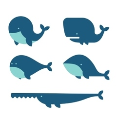 Whale icon set cartoon style on white background vector