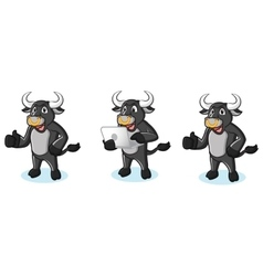 Bull Black Mascot with laptop vector image